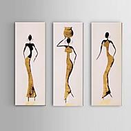 tuval 3adet üzerinde el boyaması Afrika kadın yağlıboya / set duvar sanatı katiyen çerçevesi