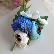 Bouquets de Noiva Forma-Livre Rosas Alfinetes de Lapela Casamento Festa / noite Poliéster Cetim