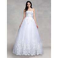볼 드레스 웨딩 드레스 바닥 길이 스윗하트 튤 와 아플리케 / 스팽글