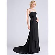 Lanting Bride Sweep / Brush Train Chiffon Bridesmaid Dress - Lace-up A-line Strapless Plus Size / Petite withBeading / Side Draping /
