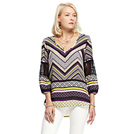 HEARTSOUL Women's Going out Simple SummerGeometric Round Neck Long Sleeve Purple Polyester Thin