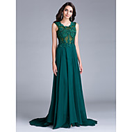 Formal Evening Dress A-line Scoop Court Train Chiffon with Appliques / Beading