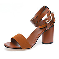 Women's Shoes Patent Leather Summer Peep Toe / Ankle Strap Sandals Office & Career / Party & Evening Chunky Heel Buckle