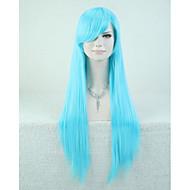 Capless bule färg högkvalitativa naturliga raka syntetisk peruk