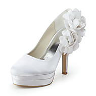 Women's Shoes Silk Stiletto Heel Heels / Round Toe Flats Wedding / Party & Evening / Dress Blue / Red / White / Beige