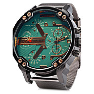 Men's Military Fashion Big Dual Time Zones Steel Band Quartz Watch