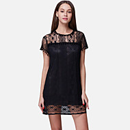 Women's Going out Cute Shift / Lace Dress,Solid Round Neck Mini Short Sleeve White / Black Polyester / Nylon / Spandex Summer