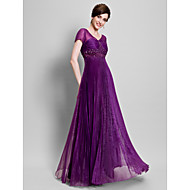 A-line Plus Size / Petite Mother of the Bride Dress Floor-length Short Sleeve Organza with Appliques / Beading / Ruching / Pleats