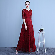 Formal Evening Dress A-line Notched Ankle-length Lace with Beading