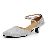 Women's Dance Shoes Latin / Dance Sneakers Patent Leather / Sparkling Glitter / Paillette / Synthetic Cuban HeelBrown /