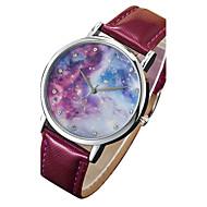 Women's/Men's Watch Black Starry Sky Case Colorful PU Band Dress Wrist Watch(Dial Pattern is Random)