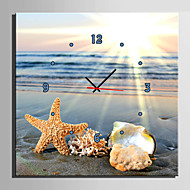 E-HOME® Sea Shells On The Beach Clock in Canvas 1pcs