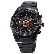 FORSINING® Men's Automatic Mechanical Hollow Dial Black Steel Band Wrist Watch (Assorted Colors) Cool Watch Unique Watch