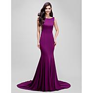 Formal Evening Dress - Beautiful Back Trumpet / Mermaid Bateau Court Train Jersey with Pleats