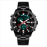 Skmei®Men's Stainless Steel Multifunction Dual Time Zones Sports Wrist Watch 30m Waterproof Cool Watch Unique Watch