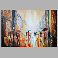 Abstract Figure Painting Walking People On Street Art Work Framed  Dark Blue Color 60x90cm