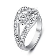 טבעות רצועה סגסוגת זירקון Round Shape אופנתי גילוי תכשיטים כסף תכשיטים Party יומי קזו'אל 1pc