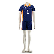 Inspired by Haikyuu Sawamura Daichi Anime Cosplay Costumes Cosplay Suits Patchwork Blue / Orange Short Sleeve Top / Shorts