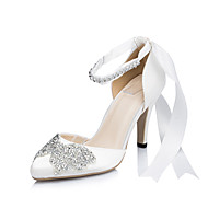 Women's Heels Spring / Summer / Fall / Winter Heels Satin Wedding / Dress / Party & Evening Stiletto Heel Rhinestone / BowknotIvory /