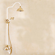European white golden flower is aspersed suits All copper can lift shower hot shower set