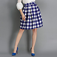 Women's Check Blue / Black Skirts,Street chic Above Knee