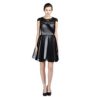 A-Fu Cocktail Party Dress - Little Black Dress A-line Jewel Knee-length Satin Tulle with Beading Criss Cross