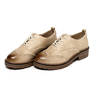 Women's Shoes PU Fall  / Round Toe Oxfords Office & Career / Dress / Casual Low Heel  Black / Gray / Beige