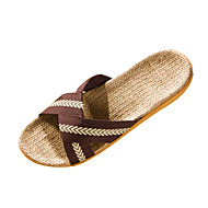 Men's Slippers & Flip-Flops Spring / Summer / Fall Slippers Polyester Casual Flat Heel Ribbon Tie Blue / Brown Walking