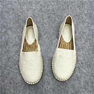Women's Shoes Leather Spring / Summer / Fall Ballerina Loafers / Casual Flat Heel Others Black / White
