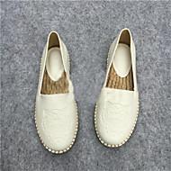 נעלי נשים-נעליים ללא שרוכים-עור-בלרינה-שחור / לבן-שטח / קז'ואל-עקב שטוח