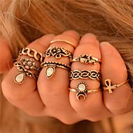 טבעות מידי אבן יקרה אהבה גילוי תכשיטים סגנון בוהמיה סטייל פאנק אופנתי וינטאג' כסף מוזהב תכשיטים חתונה Party יומי 1set
