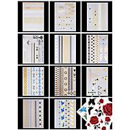 14 PCS Tatouages Autocollants Séries bijoux / Séries de fleur Motif / Bas du Dos / Waterproof / MetallicHomme / Femme / Adulte /