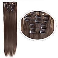 pas cher extentions de cheveux clip dans les cheveux synthétiques # 8 brun foncé 7pcs 22inch 100g / set morceaux de cheveux synthétiques