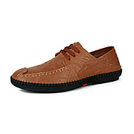 Men's Flats Spring / Fall Moccasin / Round Toe Cowhide Casual Flat Heel Lace-up / Others Black / Blue / Brown Walking
