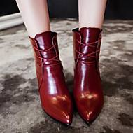 Women's Boots Spring / Fall Bootie PU Outdoor Kitten Heel Lace-up Black / Brown / Red