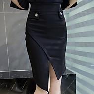 Women's Plus Size High Waist OL Style Bodycon Red / Black Split Skirts,Work / Street chic Asymmetrical