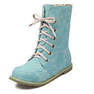 Støvler-Kunstlæder-Ridestøvler Modestøvler-Dame-Sort Blå Rosa Beige-Udendørs Fritid-Lav hæl