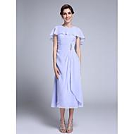 2017 Lanting Bride® Sheath / Column Mother of the Bride Dress Tea-length Sleeveless Chiffon with Crystal Detailing