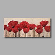 "Stretched (Ready to hang) Hand-Painted Oil Painting 48""x20"" Canvas Wall Art Modern Abstract Flowers Red"