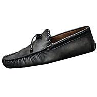 שטוחות גברים של נעליים קז'ואל עור שחור / חום / לבן