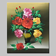 Hand Painted Flowers Oil Painting On Canvas Modern Abstract Wall Art Picture With Stretched Frame Ready To Hang