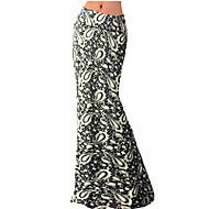 Jupes Aux femmes Maxi Grandes Tailles / Vintage Polyester / Spandex Elastique