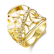 Band Rings Gemstone Zircon Gold Plated 18K gold Oval Fashion Elegant Golden Rose Gold Jewelry Wedding Party Daily 1pc