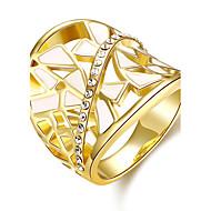 Široké prsteny Barva ozdobného kamene Zirkon Pozlacené 18K zlatá Oval Shape Módní Elegantní Zlatá Růžové zlato Šperky Svatební Párty Denní