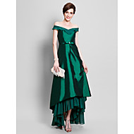 Lanting Bride A-line Plus Size / Petite Mother of the Bride Dress Asymmetrical Short Sleeve Chiffon / Taffeta withBeading / Bow(s) / Pick