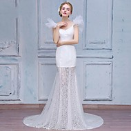 Trumpet / Mermaid Wedding Dress Court Train V-neck Lace / Tulle with Appliques / Beading