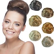 do casamento de noiva clips updo chignon bun tranças extensões de cabelo retas sintéticos multi-cores