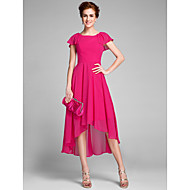 Lanting Bride® Sheath / Column Mother of the Bride Dress Asymmetrical Short Sleeve Chiffon with Ruffles
