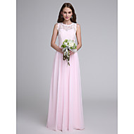 Lanting Bride® Floor-length Chiffon / Lace Bridesmaid Dress Sheath / Column Jewel with Lace