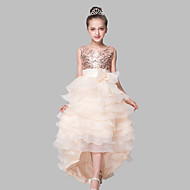 Ball Gown Asymmetrical Flower Girl Dress - Organza Satin Sequined Jewel with Bow(s) Sequins